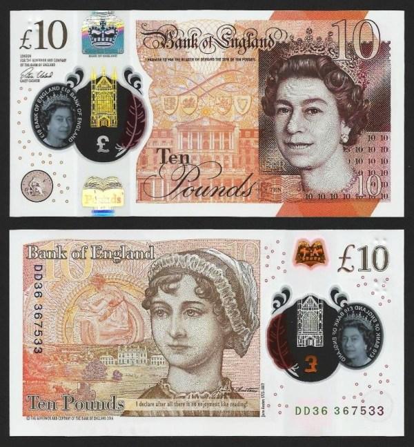 INGLATERRA .n395 (GREAT BRITAIN) - 10 LIBRAS 'Elisabeth II / Jane Austern' (2016) NOVA