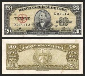 CUBA .n080c - 20 Pesos 'Antonio Maceo' (1960) BELA… Esc.