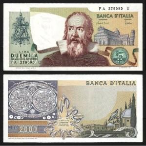 ITÁLIA .n103c (ITALY) - 2.000 LIRAS 'Galileo' (1983) NOVA… Esc.