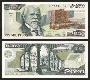MÉXICO .n086c - 2.000 PESOS (1989) NOVA… Esc.