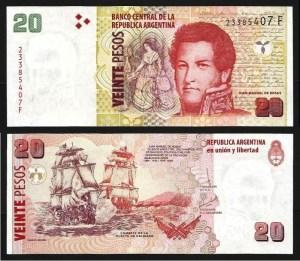 ARGENTINA .n355c - 20 PESOS 'Juan Rosas' (2003-) NOVA