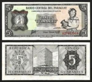 PARAGUAI .n195b (PARAGUAY) - 5 GUARANIES (L1952 / 1963-) QNOVA