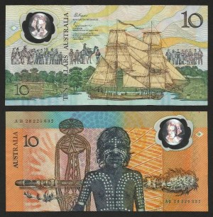 AUSTRÁLIA .n49b - 10 DOLLARS CMM 'Cap. Cook / Aborígene' (1988) CIRC… Dif.