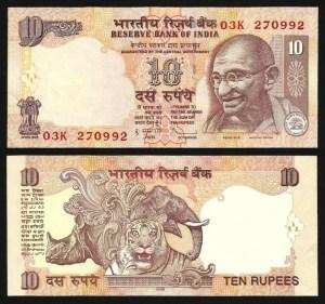 ÍNDIA .n095p - 10 RUPIAS 'Gandhi' (2009) NOVA
