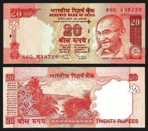 ÍNDIA .n096h - 20 RUPIAS 'Gandhi' (2009) NOVA