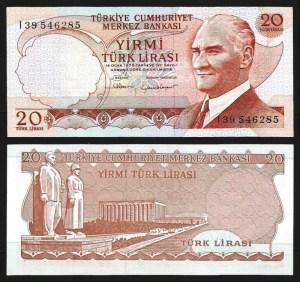 TURQUIA .n187b (TURKEY) - 20 LIRAS (L.1970) NOVA