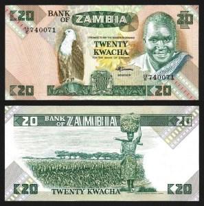 ZÂMBIA .n27e (ZAMBIA) - 20 KWACHA (1980/88) NOVA… Esc.