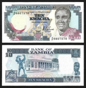 ZÂMBIA .n31a (ZAMBIA) - 10 KWACHA (1989/91) NOVA