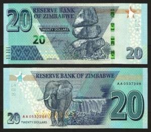 ZIMBABUÉ .n102a (ZIMBABWE) - 20 DOLLARS (2020) NOVA