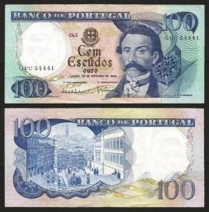 PR38A3. PORTUGAL - 100 ESCUDOS 'Camilo Castelo Branco' Ch.7 (30.11.1965) CIRC.