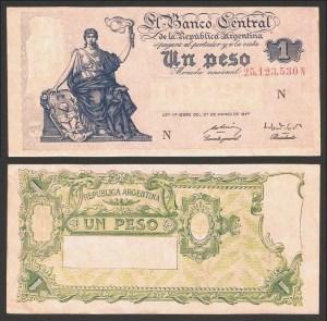ARGENTINA .n257 - 1 PESO (Lei 1947) CNOVA… Esc.