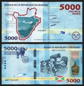 BURUNDI .n53a - 5.000 FRANCOS (2015) NOVA... Esc.