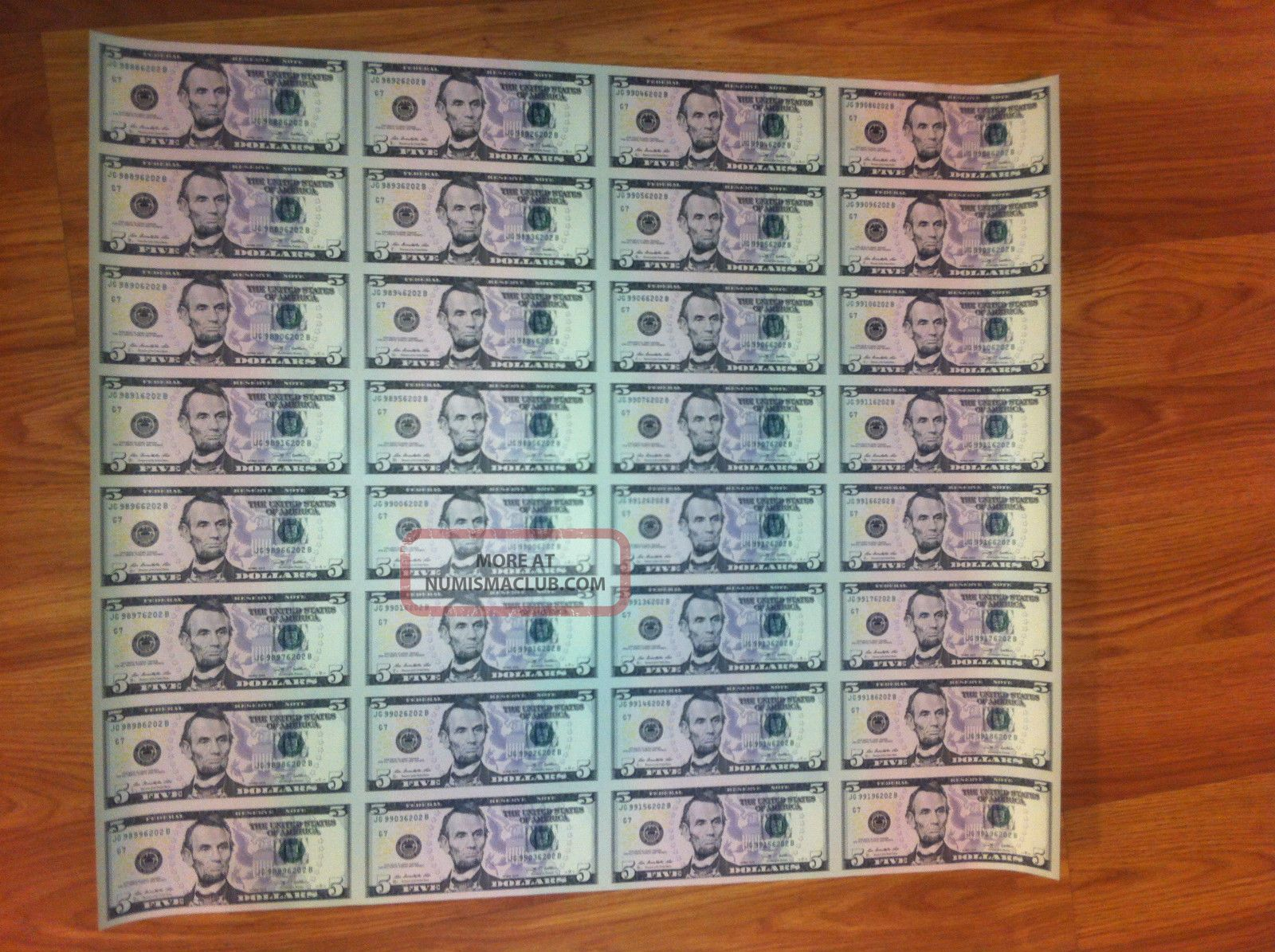 16 Uncut Sheet 5x16 Legal Usa 5 Dollar Bills