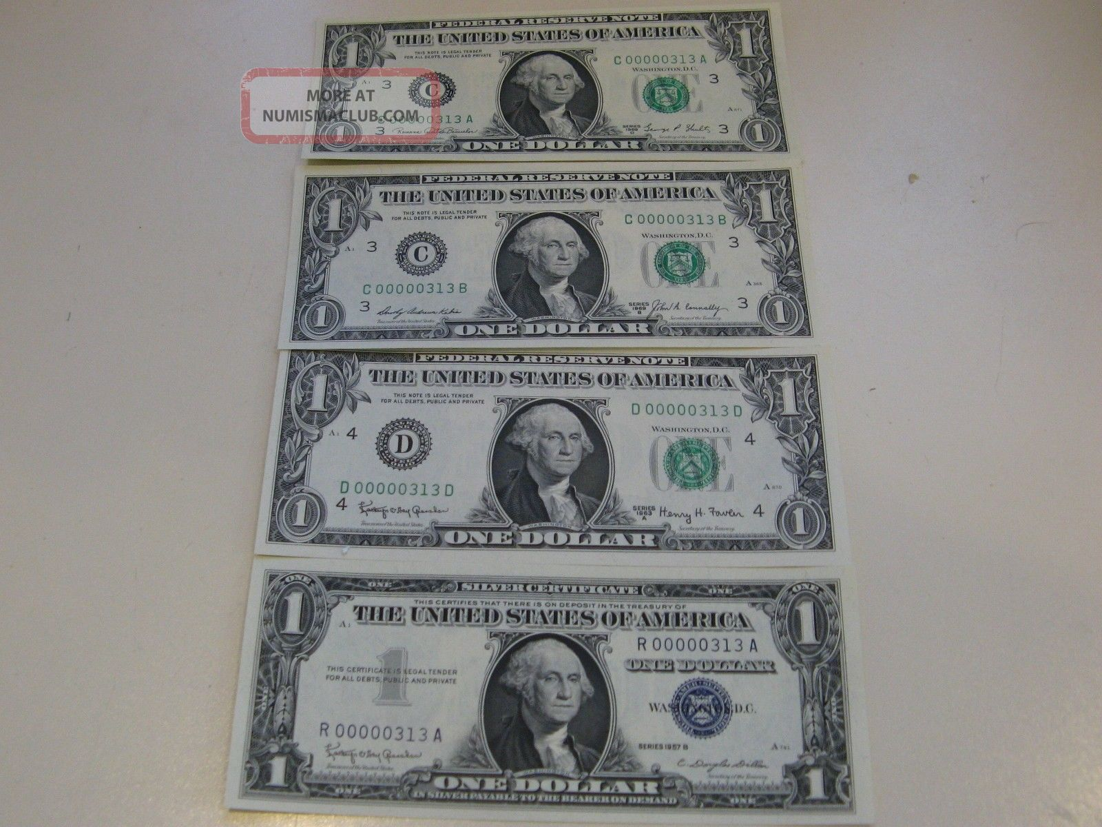 Four Low Serial Number Three Digit Matching