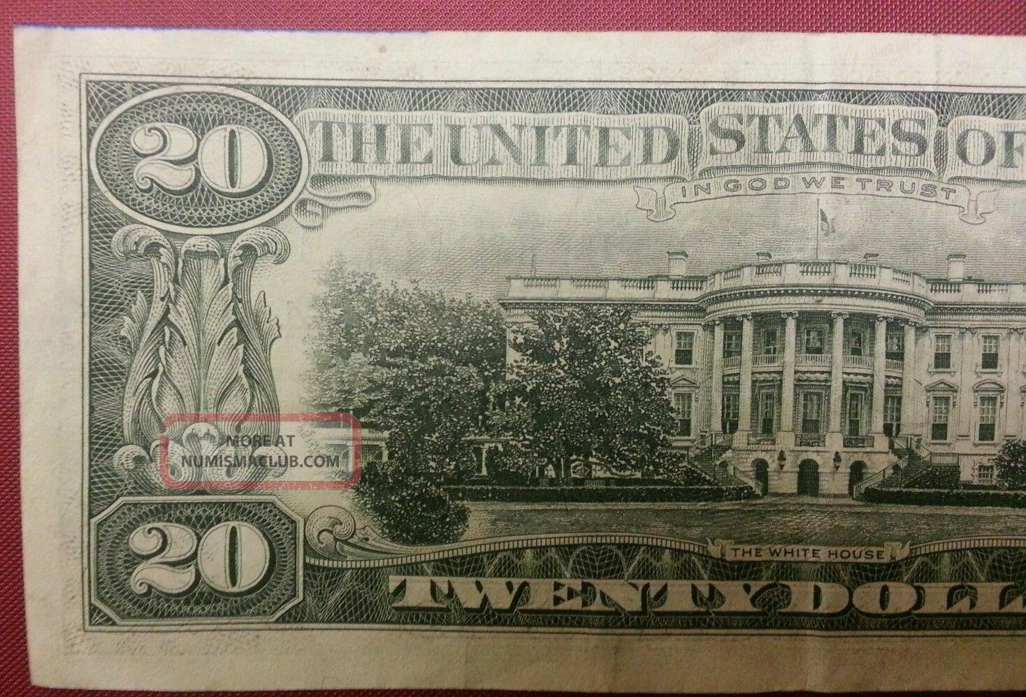 Twenty 20 Dollar Bill Rare Old Paper Money