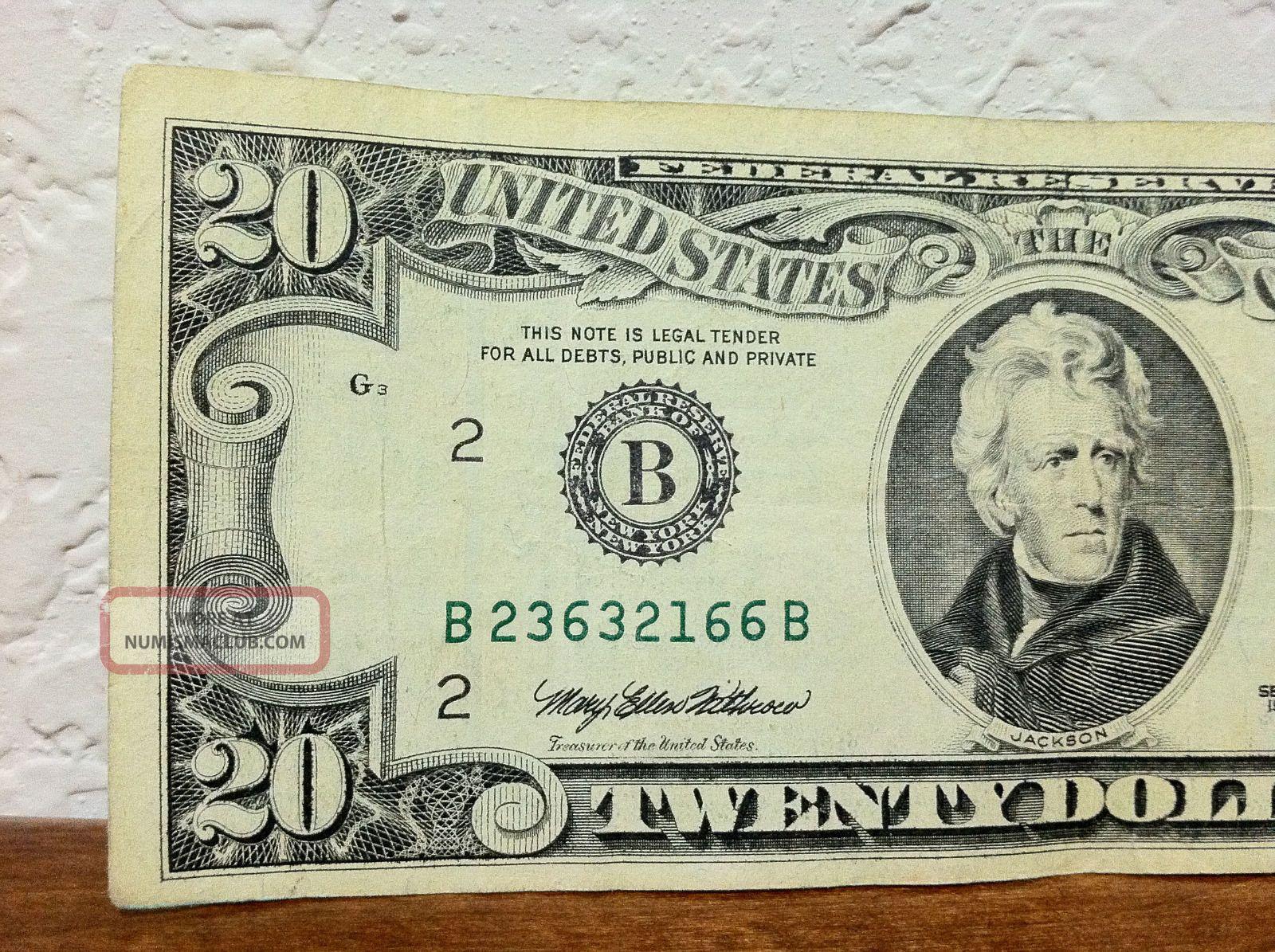 Us 20 00 Bill York Twenty Dollar Note Circulated