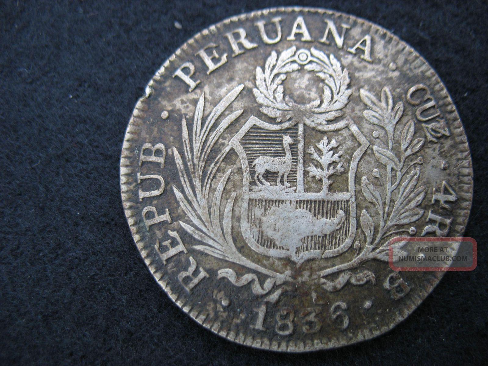 Peru 4 Reales Cuzco Republic Peruana Great Finish