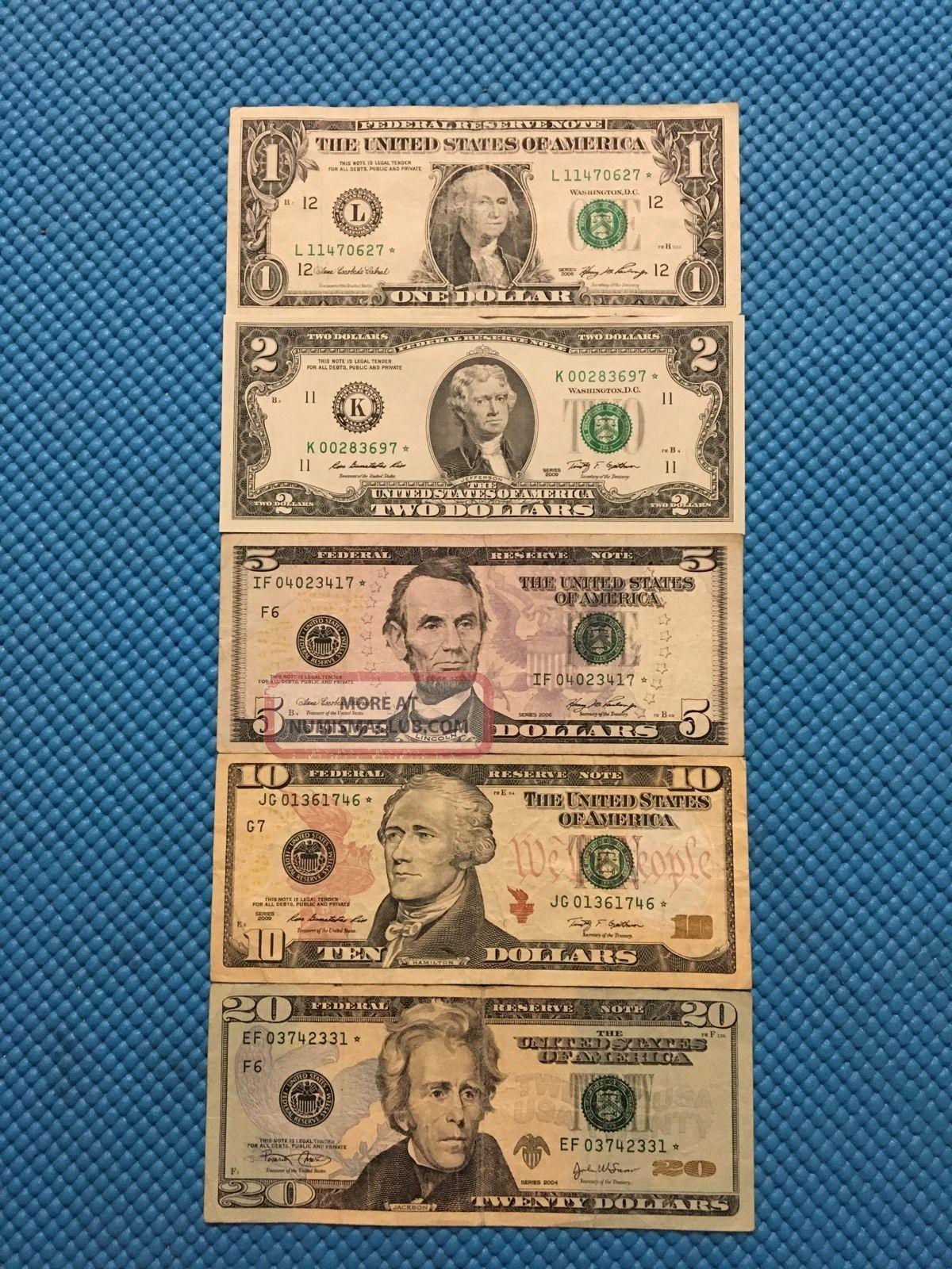 1 2 5 10 20 Dollar Bill Star Note