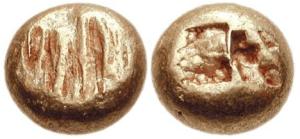 Esempi di gocce arcaiche di elettro : la fase monetale immediatamente successiva alle gocce di elettro lisce Ionia – zecca incerta - 650 – 600 aC EL Hekte e Hemihekte