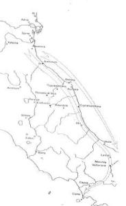 Fig. 2: Itinerario della spedizione etrusca (G. Colonna, Cupra Marittima, 1993)