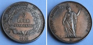 5 Lire Italiane 1848
