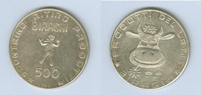 Immagine del gettone BIRAGHI, 1966, argento, da 500, gr. 16,5, diametro 32 mm. Provenienza Collezione privata