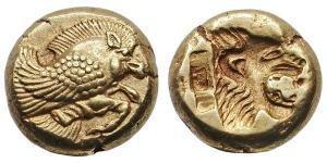 Fig. 7: Hekte in elettro di Mitilene D/ Cinghiale volante a destra R/ Testa incusa di leone ruggente a destra (Gemini LLC IV/2008, n. 163, gr. 2,58)