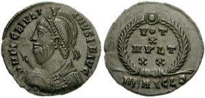 Figura 18) Giuliano II Augusto. 360-363 AD. Æ 20mm (3.02 g, 6h). Zecca di Heraclea. DN FL CL IVLI-ANVS P F AVG, capo barbato diademato con perle, busto corazzato e drappeggiato rivolto a destra / VOTIS /X/ MVLTIS/XX in quattro righe inscritto in una corona d'alloro; HERACL•B. RIC VIII 106; LRBC 1909. (www.cngcoins.com)