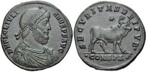 Figura 4) Giuliano II Augusto. 360-363 AD. AV Solidus (4.53 g, 7 h). Zecca di Sirmium. FL CL IVLIAN-VS PF AVG, capo diademato con perle, busto corazzato e drappeggiato rivolto a destra / VIRTVS EXERCI-TUS ROMANORVM, soldato (Virtus?) stante a destra reggente uno scettro e schiacciante a terra un prigioniero sconfitto con l'altra mano; SIRM . RIC VIII 96; Depeyrot 21/1. (www.cngcoins.com)