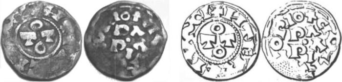 Figura 6: Confronto con disegno del denaro Tipo 4 su Brambilla Tav. IV n. 14.
