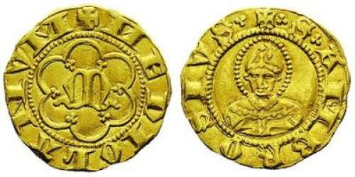 Figura 4: Zecca di Milano Giovanni e Luchino Visconti (1339-1349) o Giovanni Visconti (1349-1354) Mezzo fiorino Au D/ + MEDIOLANVM, M gotica entro cornice a sei lobi R/ + trifoglio S trifoglio AMBROSIVS trifoglio, Sant'Ambrogio imberbe a mezzo busto Rif.~Crippa 1, MIR 96 Prov.~Asta Bolaffi 24, 5 giugno 2014, lotto 425.