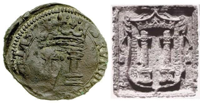 Figura 2: confronto stemma cavallo con stemma di Brindisi di epoca aragonese (immagine tratta da web).
