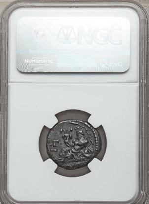 Deus do rio Nilo, Nilus. Segurando uma cornucópia acima de um hipopótamo, estranho não? mas é isso mesmo. Esta moeda também esta dentro de uma capsula de certificação da NGC.