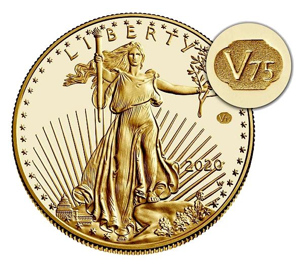 Representação da moeda alvo, Liberdade segurando uma tocha acesa na mão esquerda, ramos de oliveira na direita e foco para a marca V75