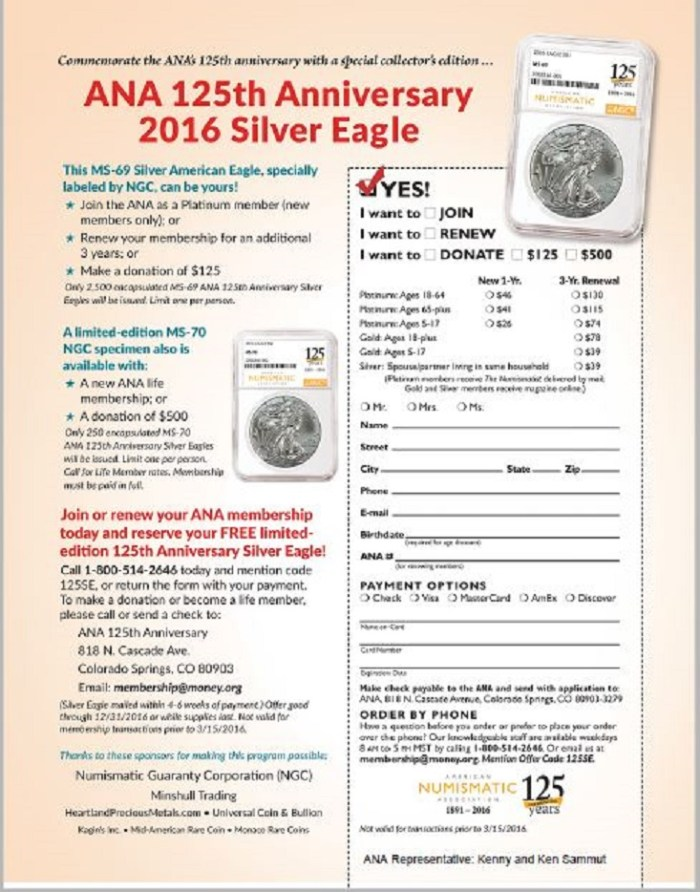 Full size ana application silver eagle