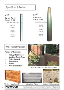 Numold - Moulds for Concrete Products - ABS Price List Page 1 - Spurs and Bollards