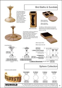 Numold - Moulds for Concrete Products - ABS Price List Page 38 - Bird Baths & Sundials