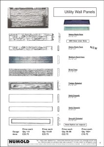 Numold - Moulds for Concrete Products - ABS Price List Page 4 - Utility Wall Panels