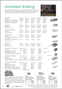 Numold - Moulds for Concrete Products - PU Price List Page 13 - Universal Walling