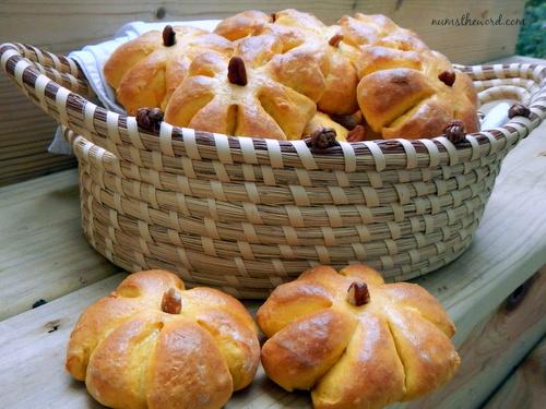 Pumpkin Bread Rolls - Baked rolls with stems in basket