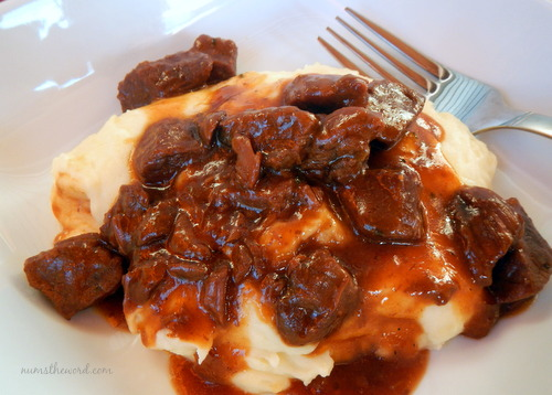 BBQ Beef Tips over Mashed Potatoes