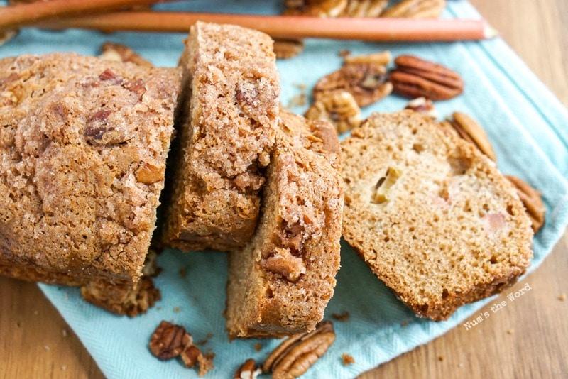 Cinnamon Streusel Rhubarb Bread sliced