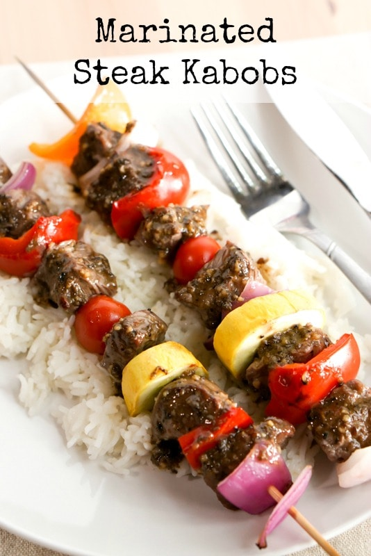 Marinated steak kabobs over rice main website photo