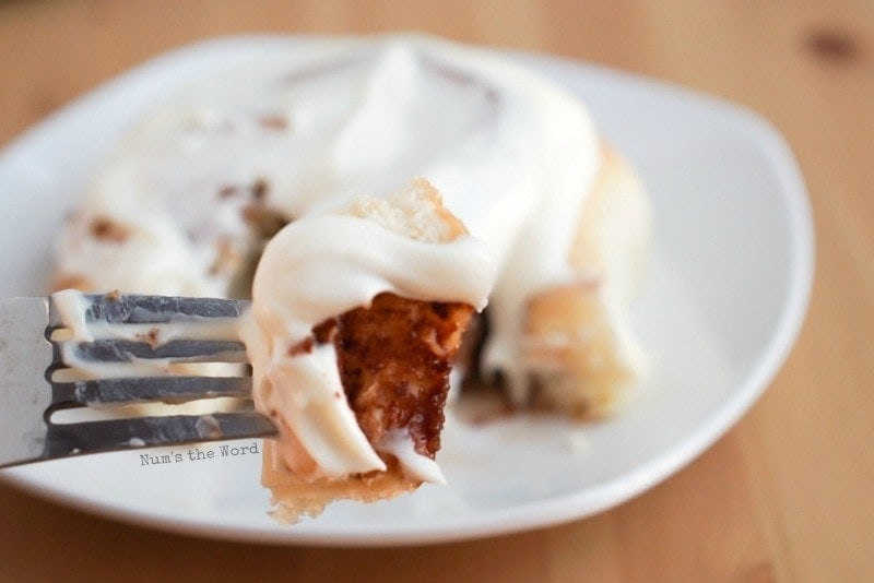 Leftover Mashed Potato Cinnamon Rolls - slice of cinnamon roll on fork
