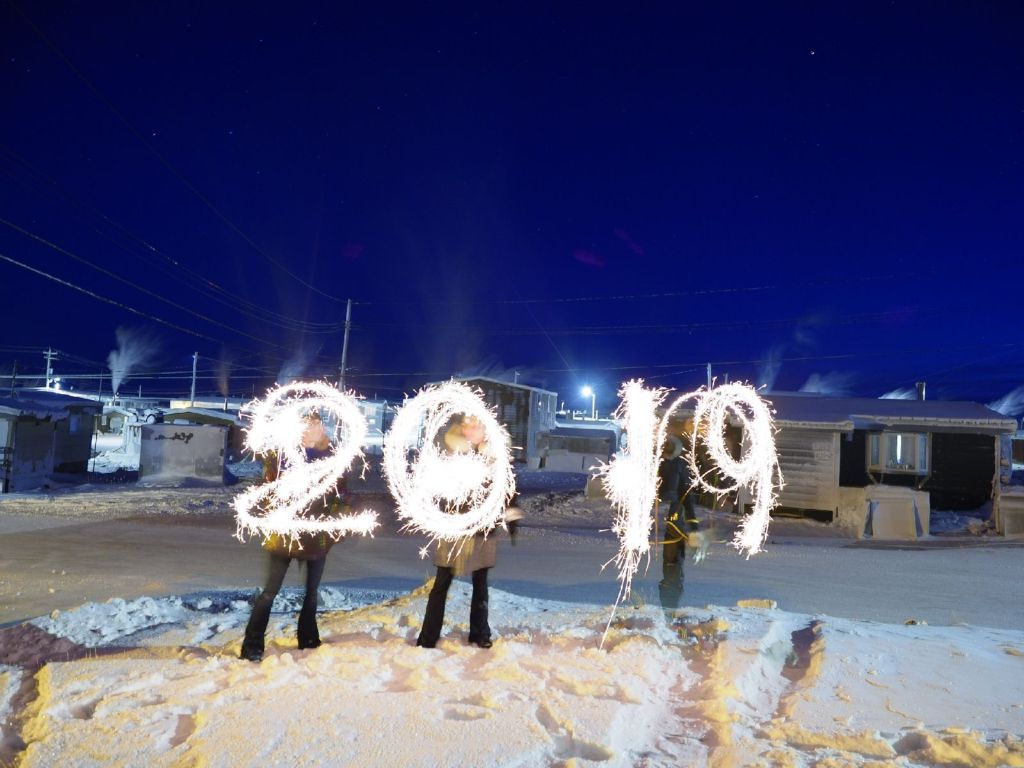 New Year's Eve celebrated in Rankin Inlet, Nunavut, with sparklers