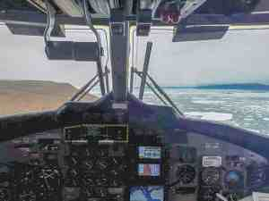 1510Amarualik Uluriak Amarualik Uluriak Alert Alert, Aug. 22, 2018. View from cockpit of Kenn Borek ... Nunavut on the left and Greenland on the right.