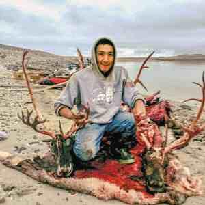 0511Jonathan Puqiqnak Jonathan Puqiqnak Gjoa Haven Jonathan Puqiqnak in Gjoa Haven, Nunavut at Erebus Franklin shipwreck on Divit Island, September 2018.