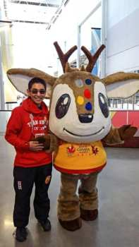 Rocco Canil of Iqaluit hangs out Waskasoo, the mascot of the 2019 Canada Winter Games, in Red Deer, Alta., on Feb. 27. Canil seemed just happy to be there and why not? photo courtesy of Sonja Lonsdale
