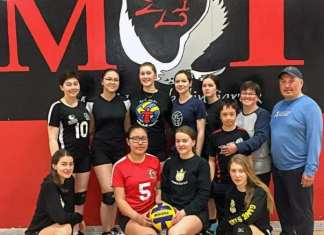 The Rankin Royals, back row from left, Alyson McKay, Kailee Karlik, Amber Graham, Shanti Dias, Tati Connelly-Clark, Sulurayok Mercer, Holly Mercer (coach) and Robert Kabvitok (coach), and front from left, Charlotte Siksik, Sanisha Nakoolak, Parker Faulkner and Maxine Ronald are preparing for their final Nunavut junior volleyball territorial this coming month with Kabvitok and Mercer holding the coaching reigns. Missing from photo is Elinor Mercer. Photo courtesy of Holly Mercer