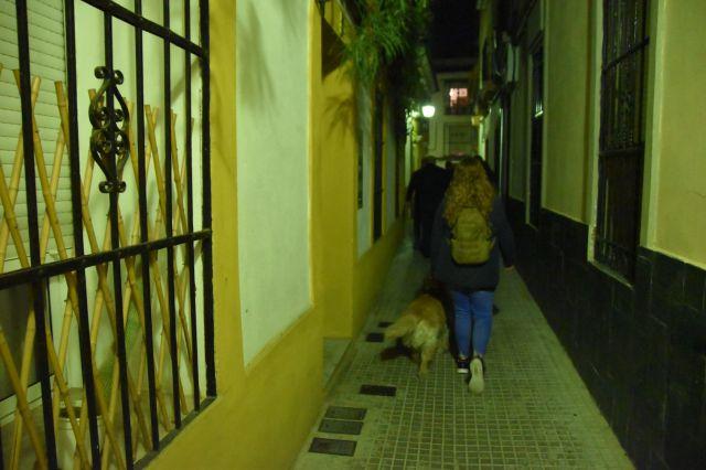 Laura y grace de espaldas caminando por una calle estrecha cordobesa de noche.